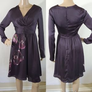 ALTUZARRA Purple Satin Orchid Empire Waist Dress 2